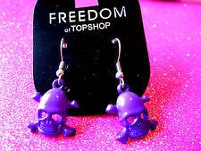 Purple Skull Cross Bone Earrings