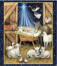Christmas Nativity Barn Panel Springs Creative 100% cotton fabric panel