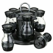 Appollo Spice Jar Rotating Carousel Herb Rack Spinning Revolving 8 Jars Black