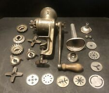 Vintage Universal No. 2 Hand Crank Iron Meat Grinder Food Chopper with EXTRAS
