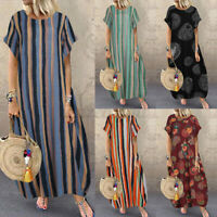 UK Women Summer Floral Printed Short Sleeve Casual Loose Baggy Kaftan Long Dress