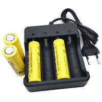 4X Batterie 18650 9800mAh 3.7V Li-ion Rechargeable Flat Top and 4.2V EU Charger