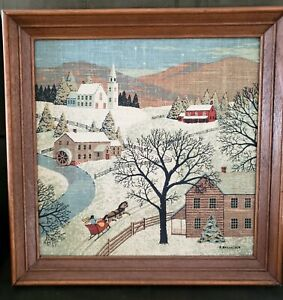Vintage Signed Kay Dee Hand Prints 100% Pure Linen Framed 16x16 Winter Scene