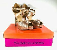 Womens My Delicious Champaign Color High Heel Open Toe Size 9 Shoes