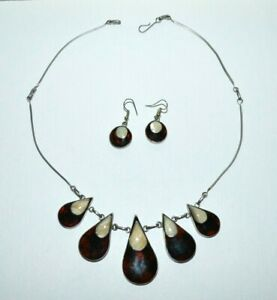 Vintage hand made statement MOP necklace & earrings set