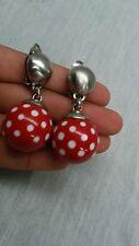 Statement vtg Ben Amun retro Mod red white polka dots silver tone clip earrings