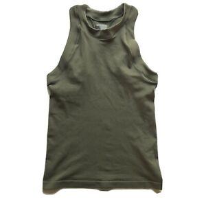Athleta Womens Small Renew Racerback Ribbed Tank Olive Green Stretch Sleeveless