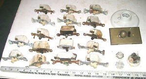BIG LOT OF VINTAGE CERAMIC ELECTRIC RESIDENTIAL WALL SWITCHES & OTHER OLD ITEMS