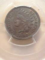 1897 1 CENT INDIAN FULL HEAD UNCIRCULATED & AWESOME TONING  MS63 PCGS