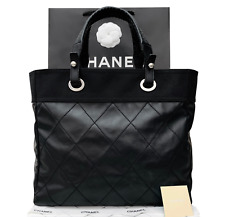CHANEL Black Leather Textile Tote Handbag