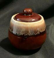 Vintage McCoy Brown Drip 7020 Lidded Sugar Bowl EUC