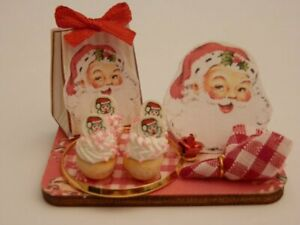 Dolls house food: Christmas santa cupcakes  display board -By Fran