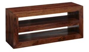 Modern Cube Indian Solid Hardwood Open 2 Shelves TV Media Unit for Living Room