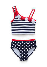 NWT Girls Flapdoodles 2 PC Nautical Stripe One Shoulder Tankini Swimsuit 2T New
