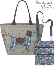LE SPORT SAC Bow Wow Dog Tote Gray Brown Polka Dot Applique Shoulder Bag Limited