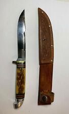 VTG WESTERN BOULDER CO. USA PAT'D 1934-52 STAG BONE HUNTING FIXED KNIFE SHEATH