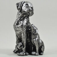 Standing Dog With Two Puppies Silver Ornament Sculpture Statue NEW BOXED 41032