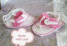 💖Babyschuhe♥ Sandalen ♥gehäkelt♥  weiß/rosa♥ ca.10 cm ♥NEU♥