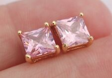 6mm Pink Topaz Square Cube Gemstone Post Stud Earrings Gold Filled