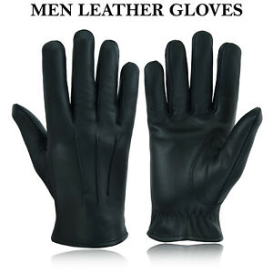 Men's Leather Police Top Quality Soft Genuine Real Driving Gloves Unlined Black