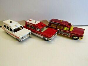 Matchbox by Mattel set of 3 1963 Cadillac Ambulances red & white MB780