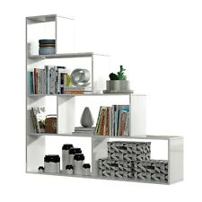 Estanteria libreria separa ambientes estantería salon, color Blanco Brillo, Klum