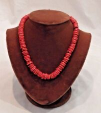"Natural Red Coral Toggle Necklace 18"" Long"