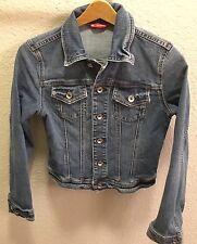 EUC X2 Denim Laboratory Womens XS Extra Small Jean Jacket Button Up distressed
