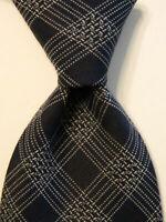 GIORGIO ARMANI Cravatte 100% Silk Necktie ITALY Designer CHECKS Blue/Gray EUC