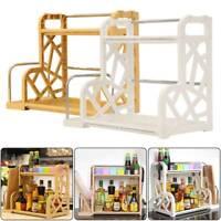 2 Tier Kitchen Spice Pantry Cabinet Cupboard Jar Organiser Rack Shelf Storage AU