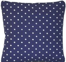 Blue Polka Dots Cushion Cover White Dot Printed Cotton Fabric Square 16""