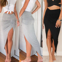 Women High Waisted Asymmetric Stretch Ruched Skirt Party Mini Bodycon Dress 2017