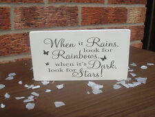shabby vintage chic when it rains look for rainbows dark for stars sign plaque