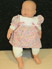 """Vintage Berenguer Sleeping Baby Doll 20"""" with Dress Cloth Body So Sweet!"""