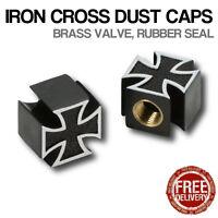 4x Black Iron Cross Car Bike Motorcycle BMX Wheel Tyre Valve Plastic Dust Caps