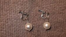 WHITE SHELL PEARL EARRINGS  WITH SILVER TONE SCREW BACK