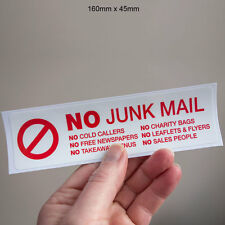 No Junk Mail Door Sticker - Stop Cold Callers UV Laminated  Letterbox Decal