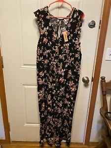 Xhilaration Keyhole Floral Wide Leg Jumpsuit Size XL