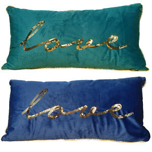 Large 55 x 25cm Gold Love Sequin Long Filled Cushion Navy Blue Teal Home Decor