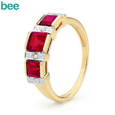 Royal Diamond Eternity Ruby 9k 9ct Solid Yellow Gold 2 or 3 Stone Rings