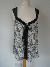 New George Top Plus Size 20/22 White/Black Floral Loose Long Lined Camisole