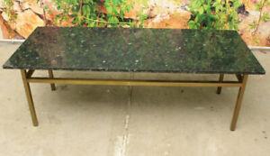 Wunderschöner antiker großer Marmor Messing Couchtisch Wohnzimmertisch-Top