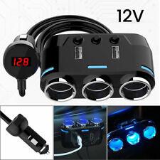 12V Car Cigarette Lighter Socket Splitter 3 Way Dual USB Charger Power Adapter