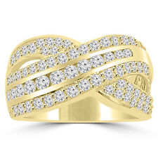 1.90 ct Ladies Round Cut Diamond Anniversary Ring in Yellow Gold G Color VS-2