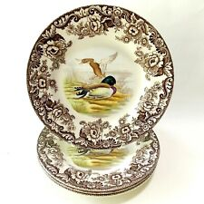 """SPODE WOODLAND MALLARD (FOUR) DINNER PLATES 10 5/8"""" BROWN AND WHITE FLORAL DUCKS"""