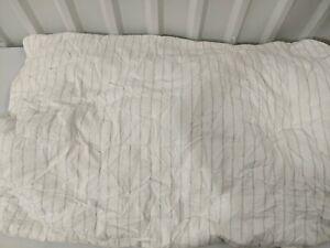 West Elm Washed Cotton Reversible Melange Stripe Quilt, King, Heather Gray, USED