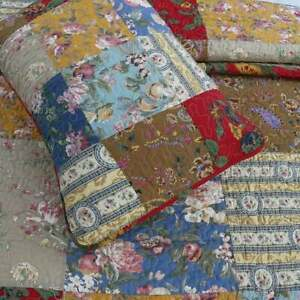 NEW! ~ COZY COUNTRY BLUE RED BROWN GREEN PINK YELLOW ROSE PATCHWORK QUILT SET