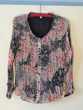 Coldwater Creek Blouse Misses L Ivory Blue Multi Color Poly Crinkle Fabric Mint