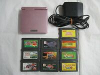 Q8 Nintendo Gameboy Advance SP console Pearl Pink &  Game Adapter Japan GBA