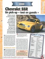 Pick-Up Chevrolet SSR V8 General Motors 2000 USA Car Auto Voiture FICHE FRANCE